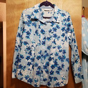 Light Blue Collared and Button-up Shirt w/ Flowers